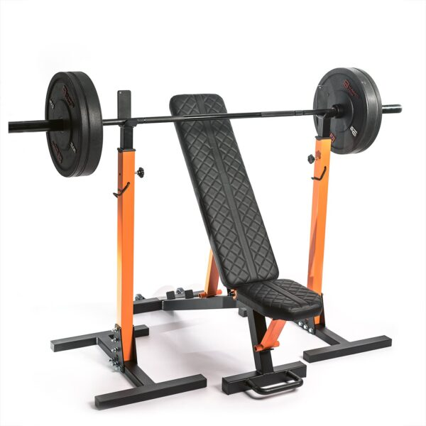 zestaw domowej siłowni, ławeczka do ćwiczeń, stojaki do sztangi, gryf olimpijski, talerze obciążeniowe, zestaw do siłowni i klubu fitness
